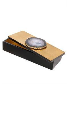InStyle-Decor.com Designer Polished Agate & Gold Leaf Lacquer Desk Box…