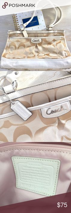 Cream & Tan Coach Carryall Purse/ Tote Park Signature Carryall cream and tan coach purse. It was my work bag until I needed to go to a larger tote. Light wear for a cream purse. There are pen marks in the side pouches, shown in photos. The bottom has some dirty leather and light marks on the fabric, shown in photos as well. It's not in mint condition but it was taken care of and still can be a go-to bag for another boss lady. Coach Bags