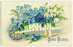 Sweet forget me not flowers vintage graphic Vintage Birthday Cards, Vintage Greeting Cards, Vintage Postcards, Vintage Images, Vintage Clip, Vintage Pictures, Decoupage, Vintage Easter, Craft Patterns