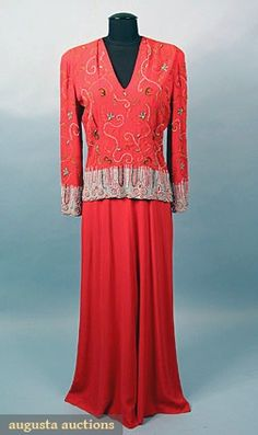 Coral & Turquoise Evening Gown, 1940s, Augusta Auctions, May 2007 Vintage Clothing & Textile Auction, Lot 755