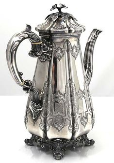 English Silver Coffee Pot by Barnard Brothers, London 1844 Bronze, Vase, Vintage Silver, Antique Silver, Silver Teapot, Silver Trays, Tea Art, Brick And Stone, Tea Service