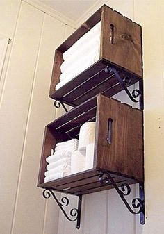 For the bathroom - made entirely from wood crates and iron brackets.