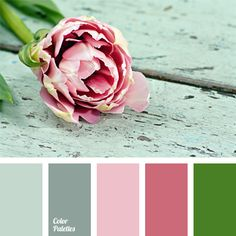 Pastel gamma of gray and pink-purple shades is complemented by green stems pale olive color. This palette suits well wedding decoration: interior decor, bouquets. It is good for selecting combinations of bridesmaids dresses and groomsmen suits. This color scheme can be used to design a spacious bright living room or office.