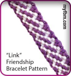 "New beginner level, ""Link Design"" Friendship Bracelet pattern! Visit http://friendship-bracelet-patterns.myfbm.com/1529/friendship-bracelet-pattern-link-design/beginner/ and try it out!   Check out http://friendship-bracelet-patterns.myfbm.com for other awesome patterns to make this summer!!  #NewPattern #LinkDesign #MyFriendshipBraceletMaker #DIY"