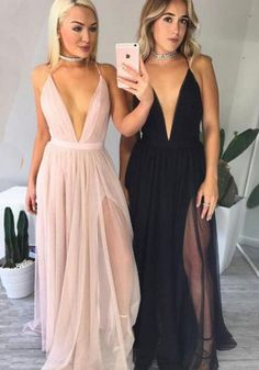 Sexy Deep V-Neck Pink/Black Tulle Long Prom/Evening Dress