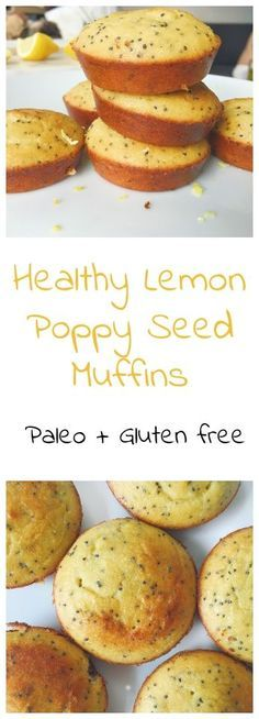 Healthy Lemon Poppy Seed Muffins, light and fluffy and so good for you! With lemon zest, fresh lemon juice and dotted with poppy seed. (paleo, gluten free, grain free, dairy free, soy free, nut free, refined sugar free)