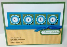 """Cake for Your Birthday! using A Round Array stamp set, 7/8"""" punch and retired DSP. #JBStampers"""