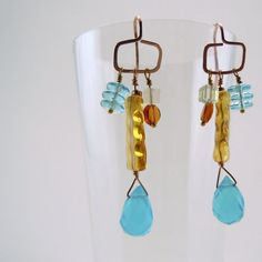 Vintage amber & sky blue beaded dangling earrings by JewelDripped, $37.00