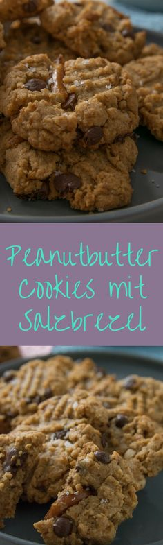 Einfach genial die Kombination aus süß und salzig -Erdnussbutter Kekse mit Salzbrezeln und Fleur de Sel