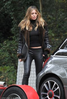 Va-va-voom! Abbey Clancy's, 30, was spotted filming a Fiat TV advert in North London on Tuesday