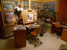 Art studio office easel organized with lots of color.