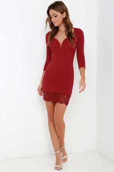Stroke of Midnight Wine Red Lace Dress at Lulus.com!