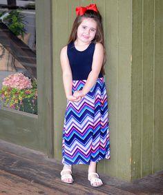 Look what I found on #zulily! Blue & Pink Chevron Maxi Dress - Infant, Toddler & Girls #zulilyfinds