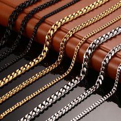 Vnox erkek zincir kolye 24/30 inç uzun kolye 3/5/7mm geniş kolye erkekler titanium için çelik link zinciri kolye erkekler