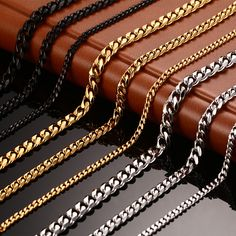 Vnox pria rantai kalung 24/30 inch panjang kalung 3/5/7mm lebar kalung untuk pria titanium baja link rantai kalung pria