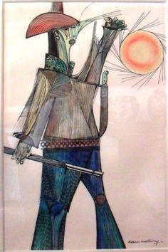 """ALDEMIR MARTINS - """"Cangaceiro"""" - nanquim aquarelado - med. 52 x 34 cm - ass. e…"""