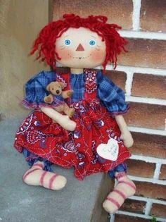 *RAGGEDY ANN ~ Primitive Raggedy Ann Doll Pattern with Tiny Folk Art Bear Raggedydays