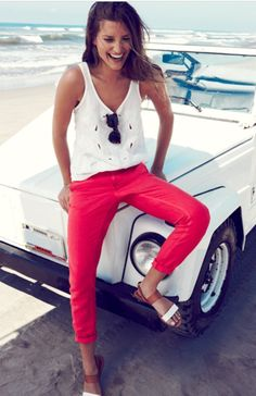 red crops + white cut-out tank.