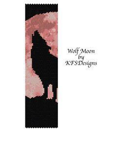 peyote pattern | Peyote Bracelet Pattern Wolf Moon by KFSDesigns on Etsy
