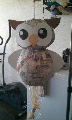 Owl pinata for godson.  Unfinished product created by jas(: