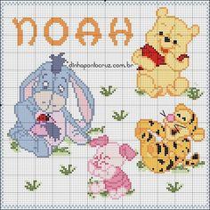 Disney Stitch, Baby Knitting Patterns, Pooh Bebe, Baby Chart, Winne The Pooh, Cross Stitch, Kids Rugs, Bb, Nova
