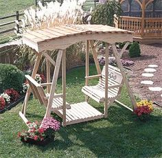 Amish Pine Rollback Cutout Heart Double Lawn Glider Bench With Roof