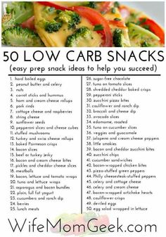 Carb Snack Ideas 50 Easy Prep Low Carb Snack Ideas - These are so good you won't want to cheat! NOT all are low carb.be Easy Prep Low Carb Snack Ideas - These are so good you won't want to cheat! NOT all are low carb.be careful Low Carb Recipes, Cooking Recipes, Healthy Recipes, Low Carb Food List, Carb Free Diet, Low Carb Diet Plan, Healthy Carbs List, Low Glycemic Foods List, Low Carb Shopping List