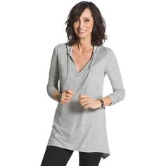 Chico's Zenergy Dorothy Hooded Tunic (€71) ❤ liked on Polyvore featuring tops, tunics, grey, grey top, grey long sleeve top, rhinestone tops, long sleeve tunic and grey tunic