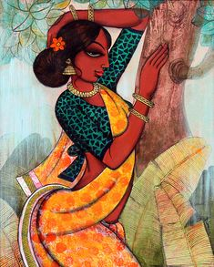 Buy Rhythmic painting online - the original artwork by artist Varsha Kharatmal, exclusively available at Mojarto only. Check price, images and description online. Indian Artwork, Indian Folk Art, Indian Art Paintings, Indian Traditional Paintings, Indian Artist, Traditional Art, Black Art Painting, Mural Painting, Woman Painting