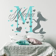 Initial Girl Name Wall Decal Mermaid Wall Decal By FabWallDecals - Advertize monogram wall decals