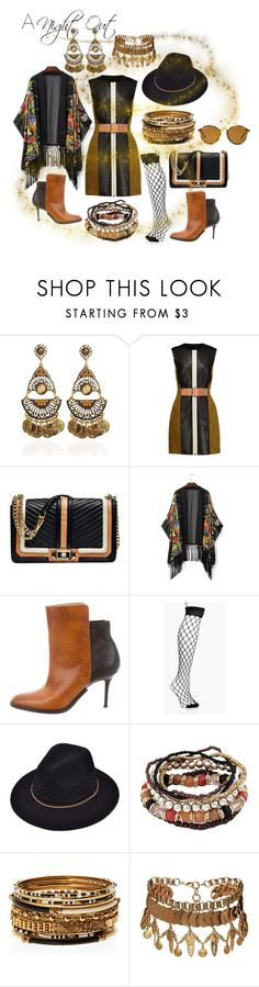 """a night out in black & tan"" by caroline-buster-brown ❤ liked on Polyvore featuring Alexander Wang, Rebecca Minkoff, Maison Margiela, Amrita Singh, Elizabeth Cole and Ray-Ban"