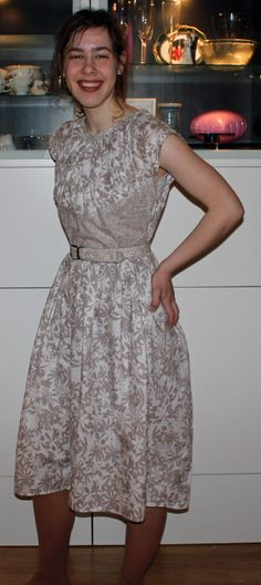 The contrasting pattern helps this dress. Most people cut inches off the side seam and eliminate the gap under the arms