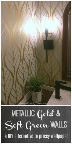 Paint and stencils can be an affordable alternative to expensive wallpaper. This large scale leaf pattern stencil is simple and modern, yet still classic. I used Behr's Wabi-Sabi green paint and soft gold metallic paint to get this elegant effect.