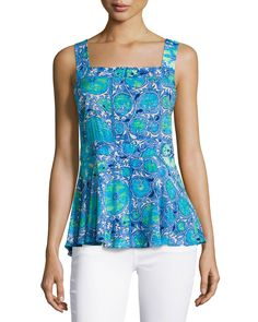 Plenty by Tracy Reese Printed Back-Tie Tank, Sea Blue Magic Carpet, Women's, Size: M, Sea Blue M