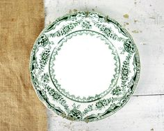 Antique English Green Transferware Plate by havenvintage on Etsy, $14.00
