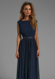 ALICE + OLIVIA Triss Sleeveless Maxi Dress with Leather Trim in Navy - Alice + Olivia.   It's alllllllll about the back.