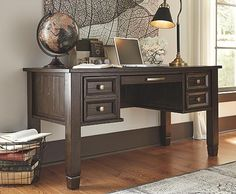 Fall in love with the Townser Grayish Brown Classic-Inspired Home Office Desk from Signature Design by Ashley at Furniture City, Fresno, CA. Gray Home Offices, Home Office Desks, Home Office Furniture, Online Furniture, Office Decor, Furniture Ideas, Office Ideas, Corner Furniture, Bedroom Office