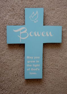 9x12 Blue Pine Cross Personalized Name with Dove by Frameyourstory, 35.00