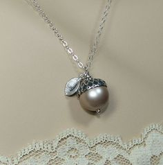 Personalized Sterling Acorn Necklace with Initial Leaf Charm - Sterling Silver Chain Swarovski Pearl Color Choice $26.50