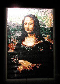 The Mona Lisa. Art work by Nathan Sawaya -- all made from LEGO bricks! Lego Brick, Bricks, Art Work, Mona Lisa, Artwork, Work Of Art, Brick, Art Pieces