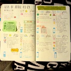 A weekly layout in my bullet journal