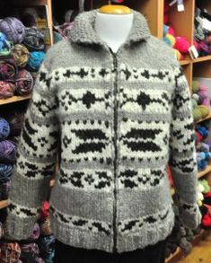 Western Canadian Sweater No xx knitting cowichan salish cardigan sweater colourwork Sleeves are set-in drop, not raglan. Big Comfy Sweaters, Wool Sweaters, Sweaters For Women, Fair Isle Knitting, Knitting Yarn, Cowichan Sweater, Sweater Knitting Patterns, Knitting Ideas, Sweater Making