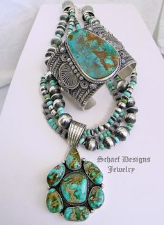 Natural Gem Grade Pilot Mountain Turquoise & sterling silver pendant artist signed & handcrafted by Native American artist LaRose Ganadonegro | Schaef Designs turquoise Jewelry | New Mexico