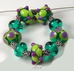 ROA Lampwork 9 Teal, Lime Purple Designer Set Art 7 x 11 mm Glass Beads USA SRA   Jewelry & Watches, Loose Beads, Lampwork   eBay!