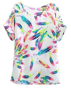Beige Short Sleeve Colorful Feathers Chiffon T-shirt US$16.30