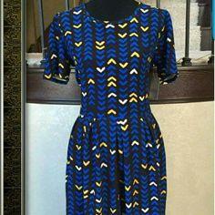 Lularoe  amelia dress Black with royal blue and yellow LuLaRoe Dresses Midi