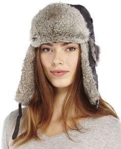 a2497e19fbd Crown Cap Real Rabbit Fur Trapper Hat Trapper Hats