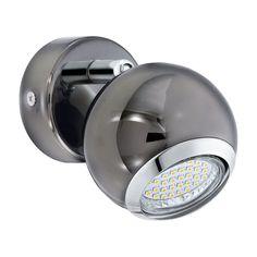 The Bimeda Single LED Spotlight has a GU10 3 Watt LED in Warm White. The Bimeda has a Nickel coloured Globe Shade with Chrome…