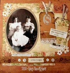 Single page scrapbook layout 1 photo buttons vintage Scrapbooking Layouts Vintage, Vintage Scrapbook, Scrapbook Sketches, Scrapbook Page Layouts, Scrapbook Paper Crafts, Scrapbook Albums, Scrapbook Cards, Heritage Scrapbook Pages, Old Family Photos