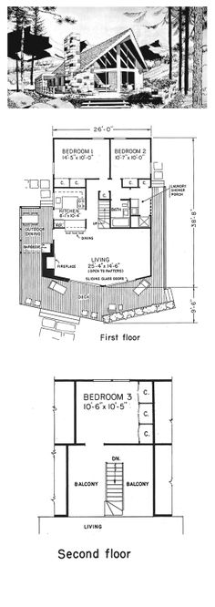 House Plan 43055 - A-Frame, Contemporary Style House Plan with 1256 Sq Ft, 3 Bed, 1 Bath A Frame House Plans, A Frame Cabin, Best House Plans, Small House Plans, House Floor Plans, Old Abandoned Houses, Pallet House, Old Mansions, Contemporary Style Homes
